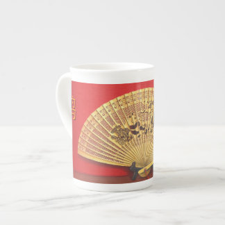 """The Chinese fan - Zodiac sign """"rooster, 鸡"""" Tea Cup"""