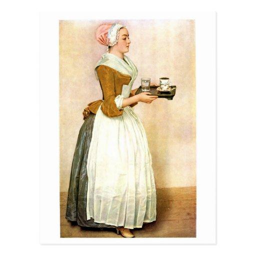 The Chocolate Girl, fine art painting Postcard
