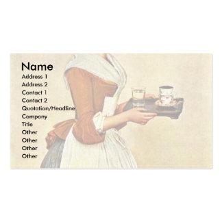 The Chocolate Girl (Miss Baldauf),  By Liotard Jea Business Card