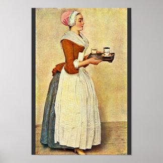 The Chocolate Girl (Miss Baldauf),  By Liotard Jea Poster