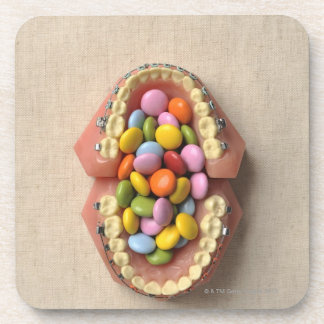 The chocolate served in the dental model coaster