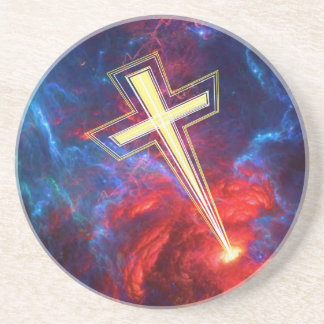 The Chrisian Cross out of The Heavens Beverage Coasters