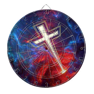 The Chrisian Cross out of The Heavens Dartboard With Darts