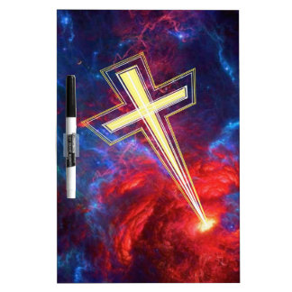 The Chrisian Cross out of The Heavens Dry Erase White Board