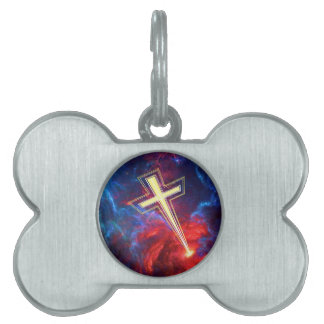 The Chrisian Cross out of The Heavens Pet Tags