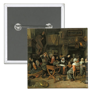 The Christening Feast, 1668 Pinback Button