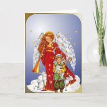 The Christmas Angel and the Little Shepherd Boy Holiday Card