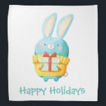 """The Christmas Bunny Bandana<br><div class=""""desc"""">This is cute as a button rabbit pet - wearing warm jumper and holding the box with nice Christmas gift inside. What it could be? For sure some nice and lovely Christmas gift idea. Happy Holidays!</div>"""