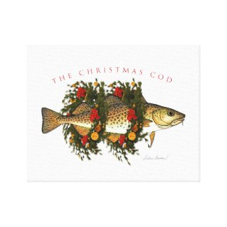 The Christmas Cod Wrapped Canvas Print