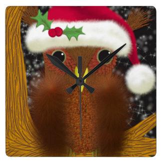 The Christmas Eve Owl ~ Square Wallclock