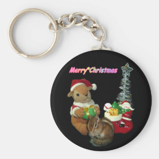 The Christmas of Chimunk's Christmas, squirrel and Basic Round Button Keychain