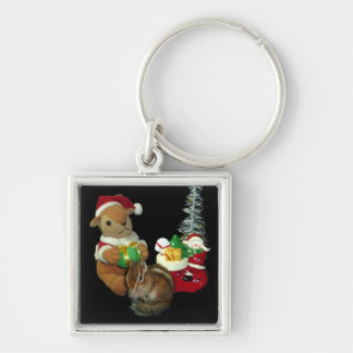 The Christmas of Chimunk's Christmas, squirrel and Silver-Colored Square Keychain