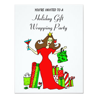 The Christmas Queen Holiday Wrapping Party Card