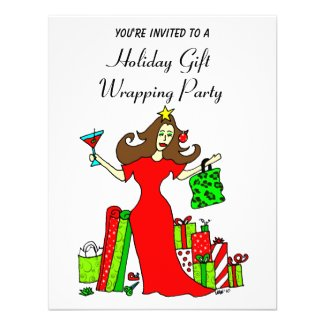The Christmas Queen Holiday Wrapping Party Personalized Invites