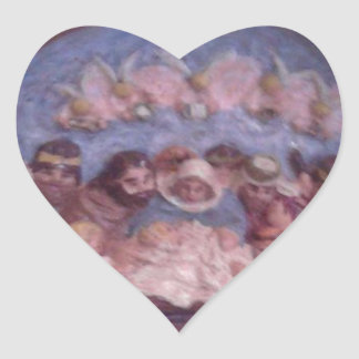 """'THE CHRISTMAS STABLE"""" HEART STICKER"""
