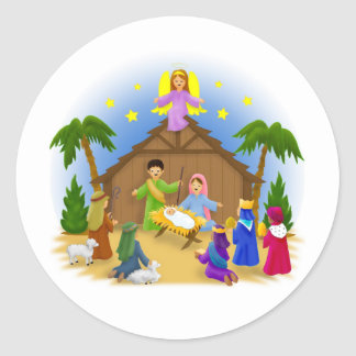 The Christmas story Round Stickers