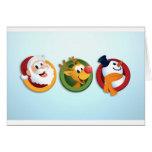 The Christmas Trio - Light Blue Greeting Cards