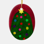 The ChristmasTree Double-Sided Oval Ceramic Christmas Ornament