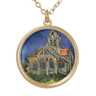 The Church at Auvers by Vincent van Gogh Gold Plated Necklace
