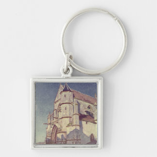 The Church at Moret, 1894 Silver-Colored Square Keychain