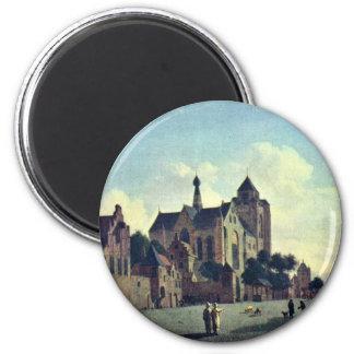 The Church At Veere.,  By Jan Van Der Heyden  (Bes 2 Inch Round Magnet