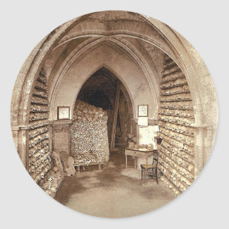 The church crypt, Hythe, England rare Photochrom Classic Round Sticker