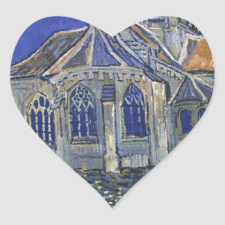 The Church in Auvers by Vincent van Gogh Heart Sticker