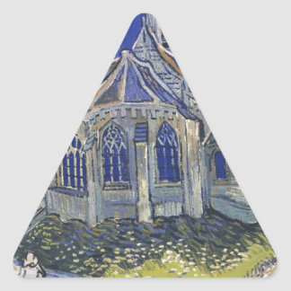 The Church in Auvers by Vincent van Gogh Triangle Sticker
