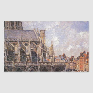 The Church of St Jacques in Dieppe, Morning Sun Rectangular Sticker