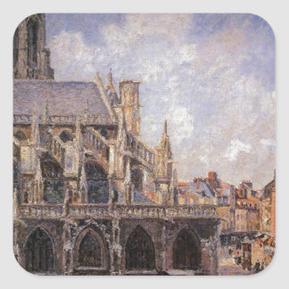 The Church of St Jacques in Dieppe, Morning Sun Square Sticker