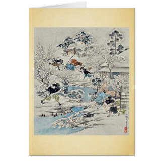 The Chushingura assualt on Kira Yoshinakas home Greeting Card