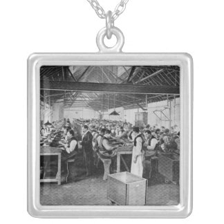 The cigar manufacturing departments silver plated necklace