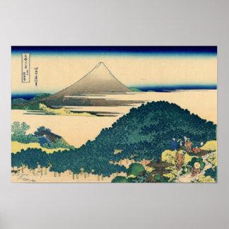 The Circular Pine Trees of Aoyama (by Hokusai) Poster