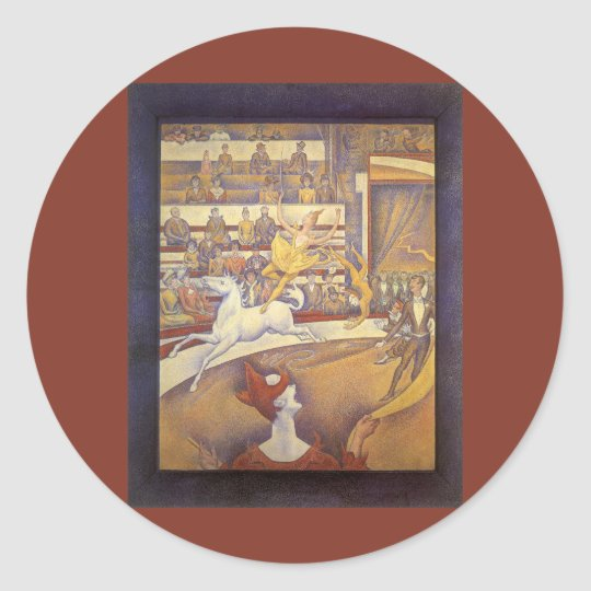 The Circus by Georges Seurat, Vintage Pointillism Classic Round Sticker