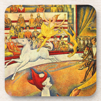 The Circus by Georges Seurat, Vintage Pointillism Drink Coaster