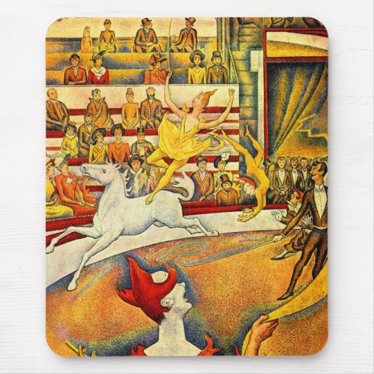 The Circus by Georges Seurat, Vintage Pointillism Mouse Pad