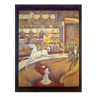 The Circus by Georges Seurat, Vintage Pointillism Postcard