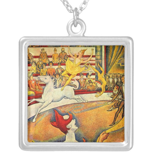 The Circus by Georges Seurat, Vintage Pointillism Silver Plated Necklace