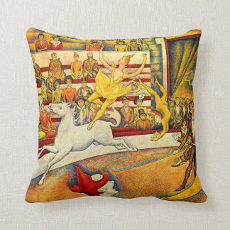 The Circus by Georges Seurat, Vintage Pointillism Throw Pillow