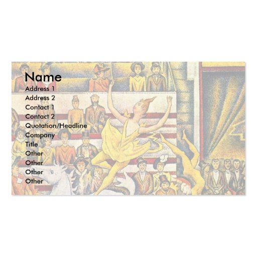 The Circus By Seurat Georges Business Card Templates