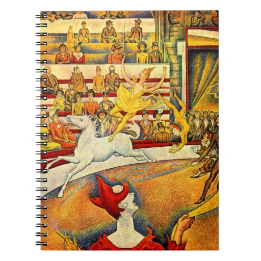 The Circus by Seurat, Vintage Pointillism Fine Art Spiral Note Book