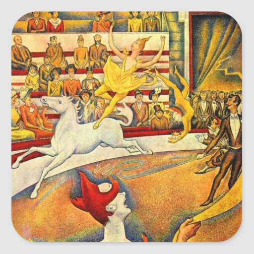 The Circus by Seurat, Vintage Pointillism Fine Art Square Sticker