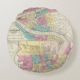 The Cities Of Pittsburgh Allegheny Cincinnati Round Pillow