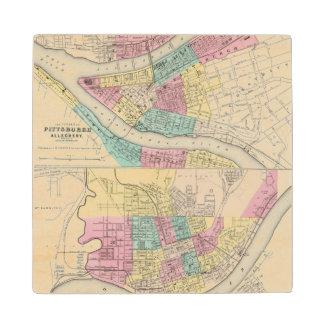The Cities Of Pittsburgh Allegheny Cincinnati Maple Wood Coaster