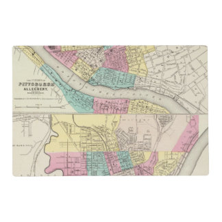 The Cities Of Pittsburgh Allegheny Cincinnati Placemat