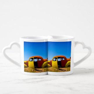 The Citrus Car a Vintage 1936 Hudson Orange Yellow Coffee Mug Set