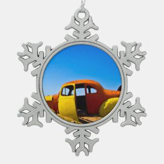 The Citrus Car a Vintage 1936 Hudson Orange Yellow Snowflake Pewter Christmas Ornament
