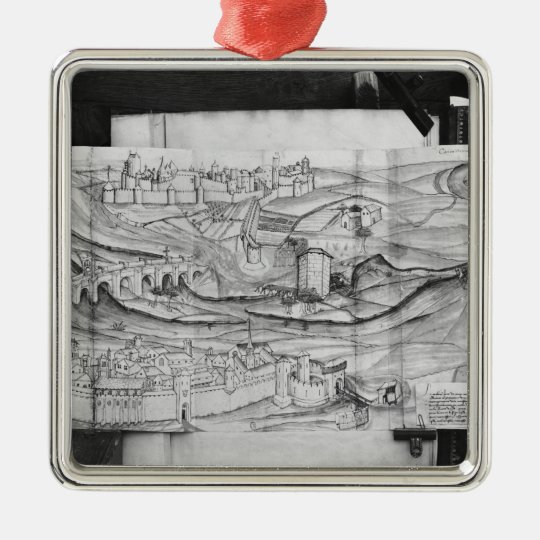The city and the village of Carcassonne, 1462 Metal Ornament
