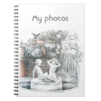 the city fountain with figurines of girls notebook