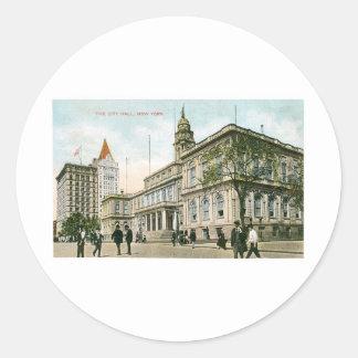 """The City Hall"" New York Classic Round Sticker"